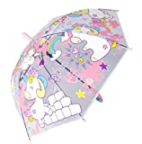 Goods4good Paraguas infantil Niña 2-6 años Unicornio Transparente Forma Seta Color Rosa Largo Automático 50cm