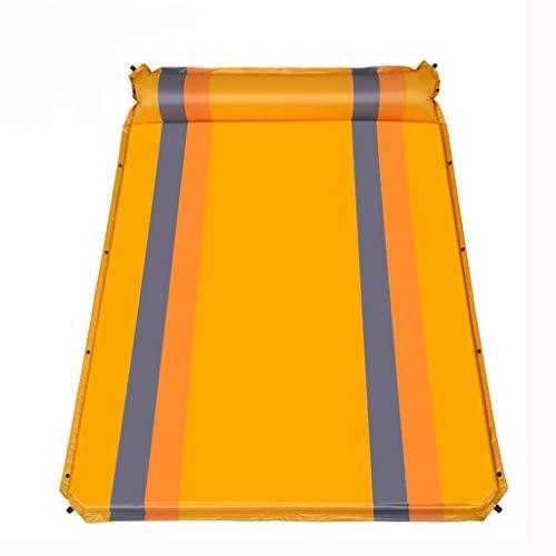 Wang Liqing - Matelas de couchage avec oreiller - Ultraléger - Matelas de tente de camping - Matelas anti-humidité - Gonflage automatique - Double coussin d'air, Orange