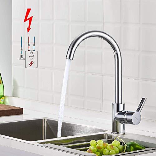 BONADE Niederdruck Armatur Küche Spültischarmatur Schwenkbereich 360° Küchenarmatur Einhebelmischer für drucklose Boiler Küche Spüle Chrom (mit 3 Anschlüssen)