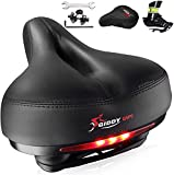 Giddy Up! Bike Seat - Most Comfortable Memory Foam Waterproof Bike Saddle, Universal Fit, Shock Absorbing Including Mounting Wrench - Allen Key - Reflective Band and Waterproof Protection Cover