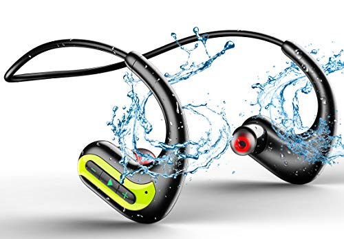 MP3 Wireless Headphones for Swimming, IPX8 Waterproof Earbuds Built-in 8GB Memory & Noise Cancelling Microphone, Sports Wearable Music Player Headset for Running, Cycling, Gym, Diving Water, Green