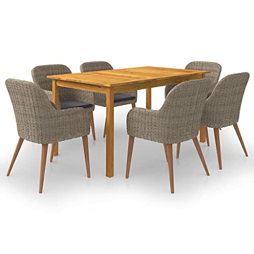 vidaXL Gartenmöbel Set 7-TLG. Sitzgruppe Sitzgarnitur Gartengarnitur Gartenset Tisch Stühle Sessel Gartensessel Gartentisch Esstisch Braun