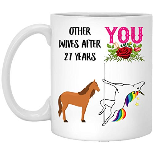 Tazas Cafe Durable Tazas Originales, Tazas Desayuno 27 Year Wedding Gifts For Her, 27Th Yr Celebration Gift For Wife From Husband, Funny Unicorn Pole Dance Coffee Mug For Women White Ceramic 11Oz