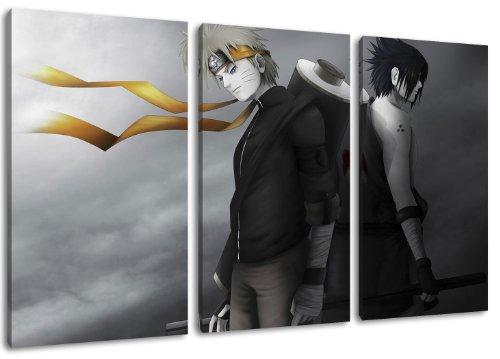 Dream-Arts Naruto und Sasuke Motiv, 3-teilig auf Leinwand (Gesamtformat: 120x80 cm), Hochwertiger Kunstdruck als Wandbild. Billiger als EIN Ölbild! Achtung KEIN Poster oder Plakat!