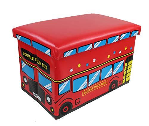 GMMH Hocker 49 x 31 x 31 cm Faltbarer Original Spielzeugbox Spielzeugtruhe Spielzeugkiste AufbewahrungsboxSitzhocker faltbar (Rote Bus)