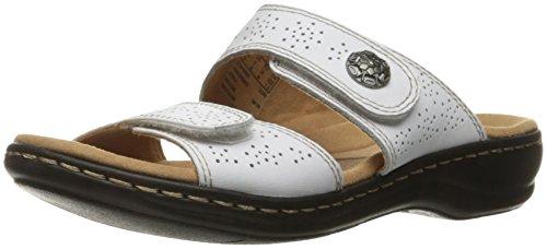 Clarks Women's Leisa Lacole Slide Sandal, White Leather, 8.5 M US