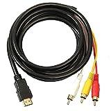 HDMI a RCA 3 cable HDMI al adaptador del convertidor del RCA Cordón de conexión del transmisor de una vía de transmisión de HDMI a RCA Adaptador 1.5m