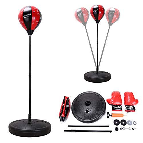 Trintion Punchingball Set Höhenverstellbarer Standbox 72-110 cm Mit Boxhandschuhe Und Handpumpe Basis zum Befüllen Mit Wasser oder Sand Freistehend Für Fitness Outdoor Boxing Training