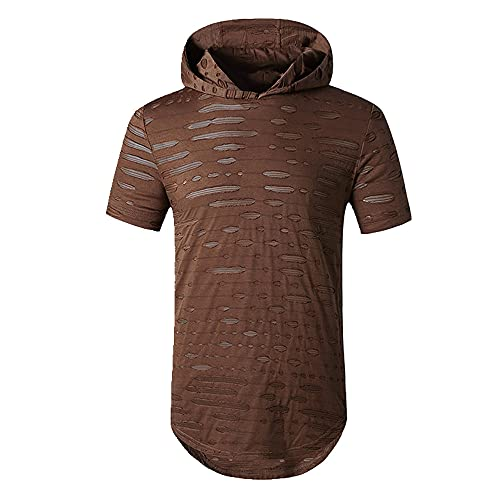 Camiseta de cuello redondo con capucha para hombre con cuello redondo
