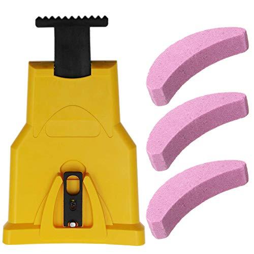 Zahnschärfer Kettensägenschärfer für Holzbearbeitung,Kettensäge,Kettenschärfgerät, selbstschärfend, schnell Holzbearbeitung mit 3 Stück Schleifstein(Gelb)