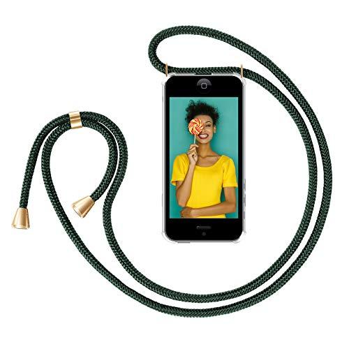 ZhinkArts Handykette kompatibel mit Apple iPhone 5 / 5S / SE (2016) - Smartphone Necklace Hülle mit Band - Handyhülle Case mit Kette zum umhängen in Grün