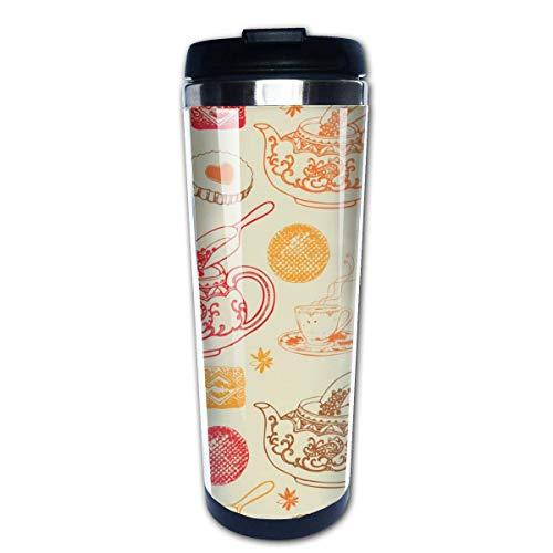 Vintage Tea Pots Pattern Vector Image Taza De Viaje De Café Tazas De Café Con Tapas Taza De Acero Inoxidable Para Hombres Mujeres