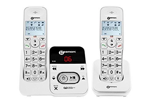 Geemarc AmpliDECT 295 Duo mit 1 schnurlosem Schwerhörigen-Telefon mit integriertem Anrufbeantworter und einem Zusatztelefon - Deutsche Version