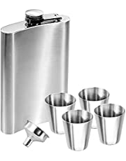 Anpro Hip Flask Stainless Steel Set and Funnel Set + 4 Shot Glasses, 10 oz. 285ml, Silver, Reusable