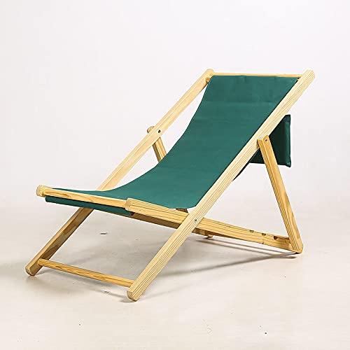 Silla de playa de madera maciza Portátil Silla de cubierta plegable al aire libre, baño de almuerzo de baño, muy adecuado para su uso como silla de cubierta para jardines y terrazas,Dark green