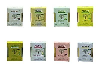 Aegean 100% Natural Soap w/Organic Ingredients, Vegan, Moisturizing, Handmade, Scented w/Premium Essential Oils, Body Soap, Face Soap,and Bath Soap, Detox Spa Soap Bar Gift Set