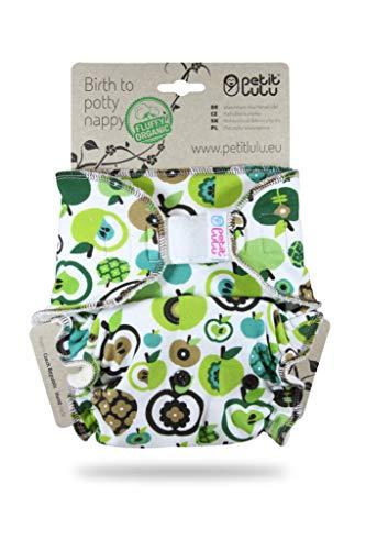 Petit Lulu Pannolino Mutandina Bambù Fitted Taglia Unica   Hook & Loop   Fluffy Organic   Pannolini di stoffa   Pannolini lavabili (Apples (green)))