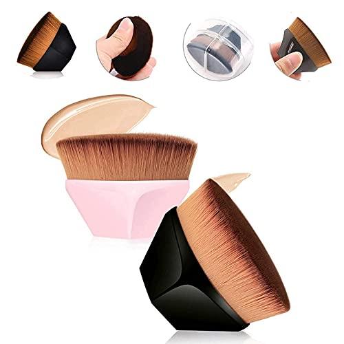 Riveryy 2 Pièces Pinceau Fond de Teint Fluide Brosse Fond de Teint Visage Pinceau de Maquillage de Base en Forme de Pétale Brosse à Poils Doux avec étui de Rangement (Noir + Rose)