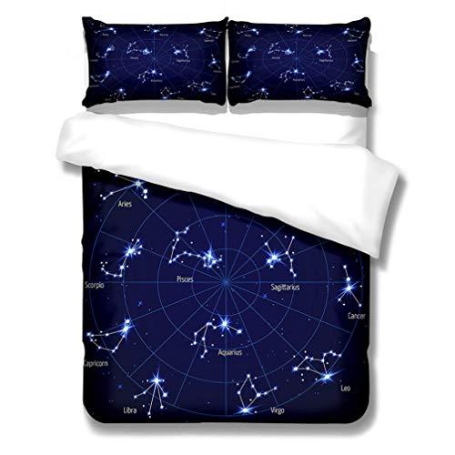 WENYA Universo 3D Tierra Galaxy Soñadora Cielo Estrellado Doce Constelaciones Juego de Cama Negro Azul Púrpura Funda Nórdica y Funda de Almohada Niño Chico Niña (Estilo 1, 150 x 200 cm - Cama 90 cm)