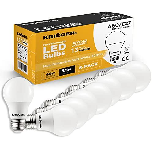 Krieger LED Lampe, E27 Edison-Schraube im Sockel, 8.5W Led-Glühbirne (60 Watt Äquivalent), Nicht Dimmbar, 806 Lumen, A60, 3000K Warmweiß, Energiesparend, Energieklasse A+, CE Zertifiziert - 8er Pack