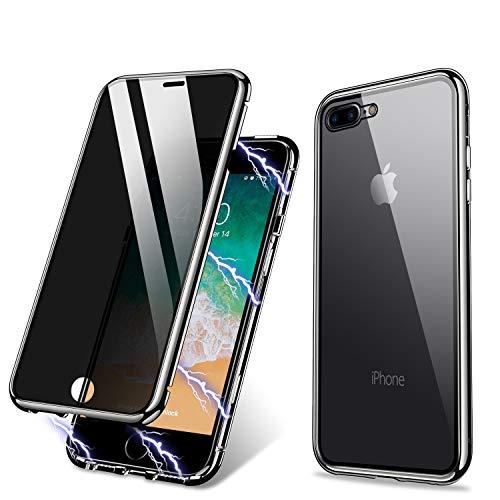 Funda para iPhone 7 Plus 8 Plus,Funda de adsorción magnética anti-pío ZHIKE Cobertura de pantalla completa de vidrio templado frontal y posterior Cobertura de privacidad de diseño de una pieza (Negro)