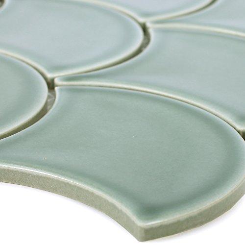 Keramik Mosaikfliesen Madison Grün | Wand-Mosaik | Mosaik-Fliesen | Naturstein-Mosaik | Fliesen-Bordüre | Ideal für den Wohnbereich und fürs Badezimmer (auch als Muster erhältlich)