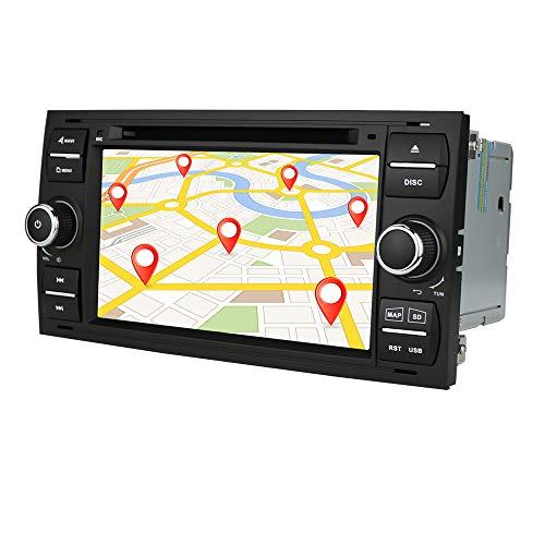 Android 10 Auto GPS Navigation Bluetooth autoradio mit 7 Zoll Bildschirm passt für Ford Focus c-max Transit Mondeo Fusion unterstützung lenkrad Steuerung Radio (schwarz)