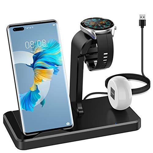 SPGUARD 3 in 1 Caricabatterie compatibile con Huawei Watch ricarica per Huawei P40/P40 Pro/Huawei Mate 30 Pro,Tipo-C stazione di ricarica per FreeBuds Pro/Free Buds 3/ Huawei Watch/Phone