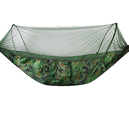 HUANXI LightweightSingleHammock Swing with Storage Bag + Strap,300kg Load Capacity (250x120cm) Camouflage Camping Hammock With Tarp for Smooth Handling, In- and Outdoor