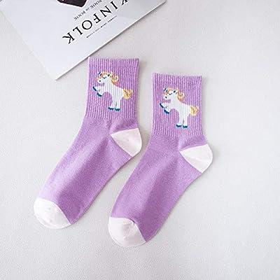 Xiaobing Calcetines Divertidos Calcetines de Unicornio de Dibujos Animados Animal de Dibujos Animados Sexy otoño Mujeres Calcetines Casuales de algodón Puro Calcetines Deportivos - 004, Talla única