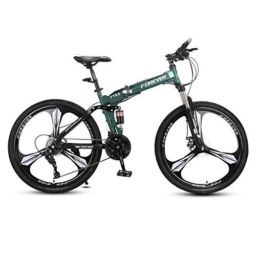 DSAQAO Folding Mountain Bike,26 Pulgadas Suspensión Completa MTB Bicicletas 24 27 Velocidad 3 Spoke Disc Bicicleta para Adultos Adolescentes Estudiante Verde+Negro 24 Velocidades