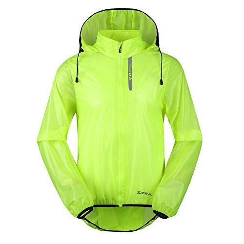 Santic Men's Cycling Rain Coat Jersey Bicycle Windproof Jacket Hooded Skin Coat Green