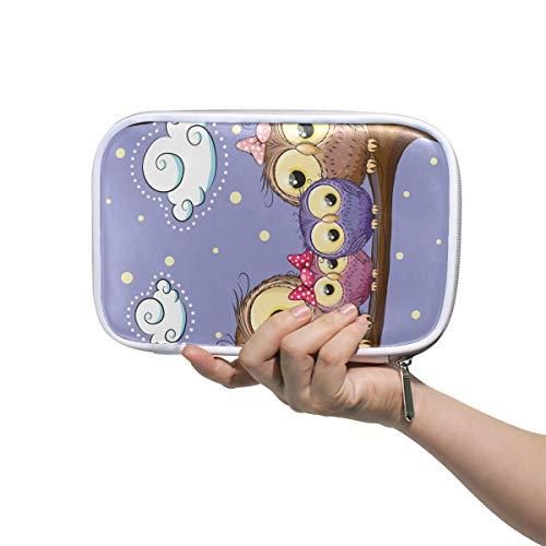 Deziro Sac de rangement multifonction avec motif de chouettes pour maquillage et maquillage avec sac intérieur en maille pour voyage