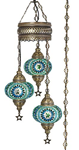 Demmex 2019 Turkish Moroccan Mosaic Hardwired OR Swag Plug in Chandelier with 15feet Cord Cable Chain & 3 Big Globes (Teal)