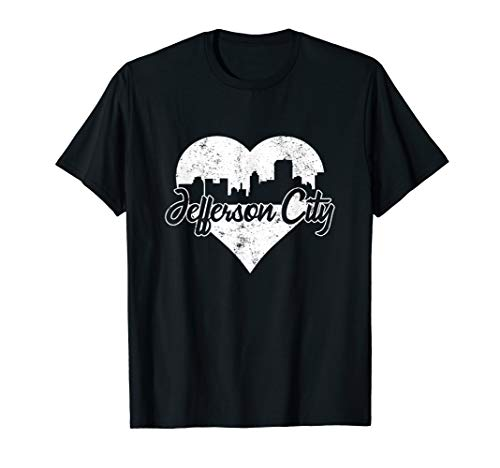 Retro Jefferson City Missouri Skyline Heart Distressed T-Shirt