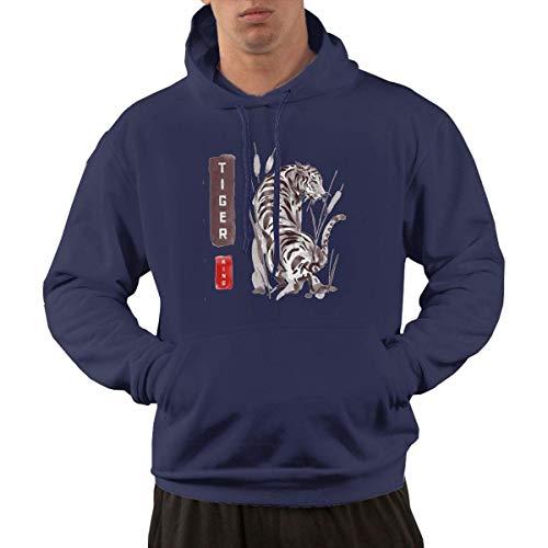 Tengyuntong Hombre Sudaderas con Capucha, Sudaderas, Men's Pullover Hooded Sweatshirt - Real Tiger King