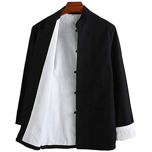 G-like Chinesische Kampfkunst Herren Jacke – Traditionelle Uniform Oberbekleidung für Kampfsport Kung Fu Tai Chi Wushu Männer Frauen Kostüm Tang Stil Langarm Kleidung - Baumwolle (Schwarz, XL)