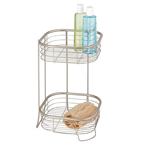 "iDesign Forma Metal Wire Corner Standing Shower Tower Caddy, 2-Tier Bath Shelf Baskets for Shampoo, Conditioner, Soap, Accessories, 9.5"" x 9.5"" x 15.25"", Satin Silver"