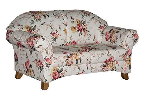 Cavadore 2-Sitzer Sofa Maifayr mit Federkern / Geblümte Couch im Landhausstil mit Holzfüßen / 164 x 90 x 90 / Blumenmuster beige/rosa