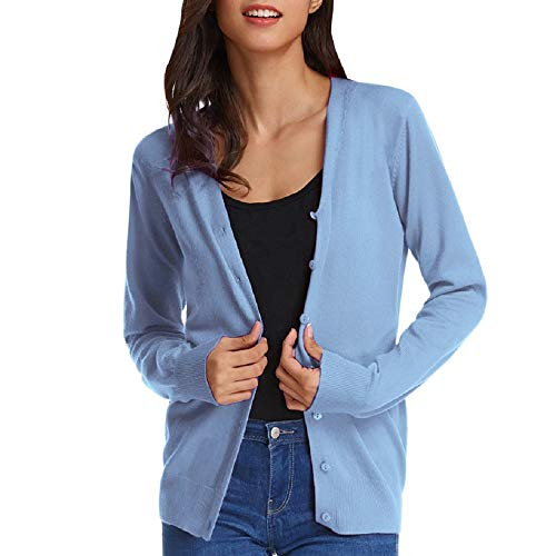 GRACE KARIN Damen Basic Cardigan Langarm V-Ausschnitt Button Down Casual Kurz Strickjacke L Hellblau CLAF1002-13