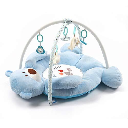 YLLHK Manta De Juego Bebé, Niños Deluxe Gimnasio de Actividade, Oso de Felpa con Forma de Juguete para Animales de Peluche Manta de Juego, para Primera Infancia 1-15 Meses,Azul