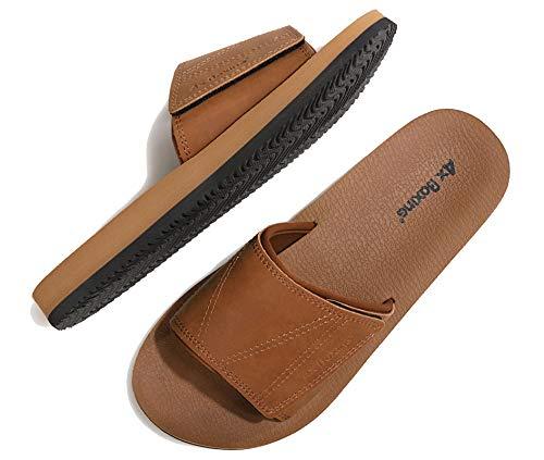 ARRIGO BELLO Uomo Ciabatte Latice/Look Hoop Sandali Piscina Scarpe Infradito Pantofole Flip Flop Estive con Pelle Taglia 41-46 (LL Cammello, 45)