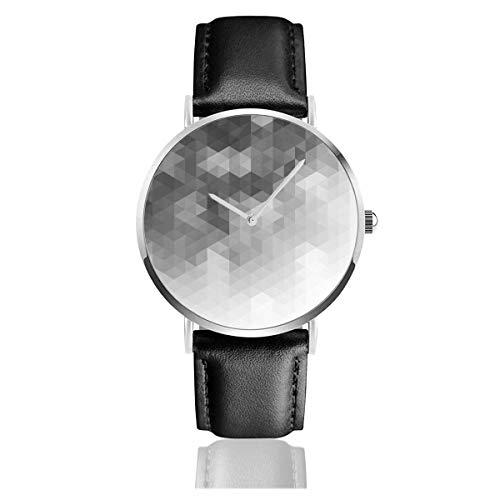 Dreieckiges Muster Geometrisches Dekor Lässige Uhr Lederarmbanduhren
