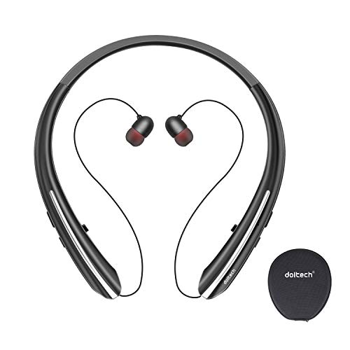 Bluetooth Headphones, Doltech Neckband Wireless Bluetooth 5.0 Headset with Retractable Earbuds Hi-Fi Stereo Sound Earphones with Mic and Carrying Bag, Sweatproof Call Vibrate Alert (Black)