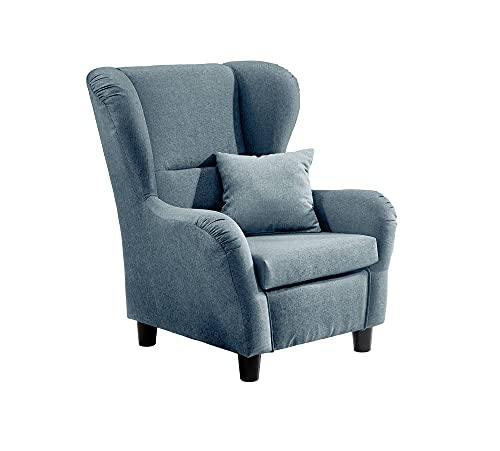 lifestyle4living Ohrensessel in blau im Landhaus-Stil | Der perfekte Polstersessel für entspannte, Lange Fernseh- und Leseabende. Abschalten und genießen!