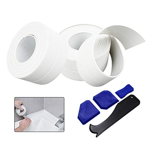 Caulk Strip, 2 Packs Caulking Tape and 4 Pcs Silicone Scraper Tool, Self Adhesive Waterproof Seal Caulk Tape for Bathroom, Kitchen, Tub and Wall Corner Edge, White