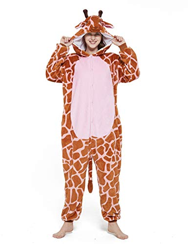 Unisex Schlafanzug Erwachsene Cosplay Kostüm Giraffe Onesies Cartoon Kinder Pyjamas Winter Nachtwäsche Jungen Onesies Mädchen Pyjama Set Kostüm Jumpsuit (Color : Pink, Size : 9T)