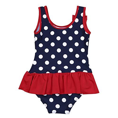 Freebily Baby Mädchen Badeanzug UV-Schutz Bademode Schwimmanzug mit Rock Polka Dots Einteiler Bikini Tankini Badebekleidung in Gr. 50-98 Dunkel Marineblau 74-80/9-12 Monate