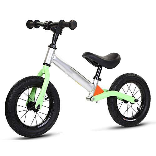 YumEIGE kinderloopfiets 2-7 jaar oud, aluminiumlegering met schokdemping, professionele kwaliteit, loopfiets, hefzat 11,8-17,7 inch groen