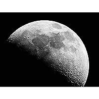 自然の風景月クレーターブラックホワイト ポスター A3サイズ [インテリア 壁紙用] 絵画 アート 壁紙ポスター